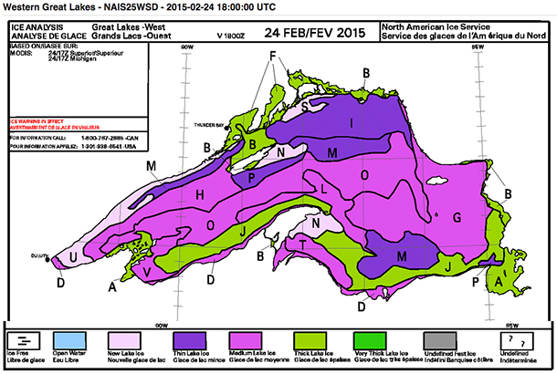 Green is Thick Ice. Thunder Bay and the harbour show thick ice. Source: Environment Canada