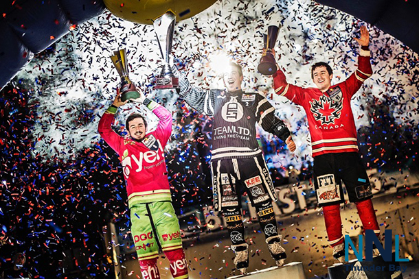 Canadians atop the podium at the Crashed Ice event in Dublin Ireland