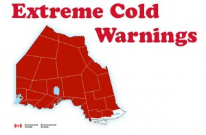 Arctic cold is flowing into Northern Ontario. Extreme Cold Warnings are in effect