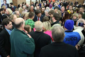 Trudeau Mania Thunder Bay style broke out at The Da Vinci Centre tonight