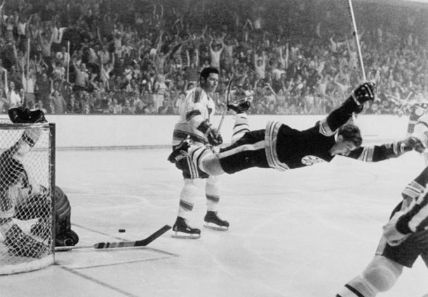 Perhaps one of the most famous moments in NHL Hockey History. Bobby Orr scores to win the Stanley Cup