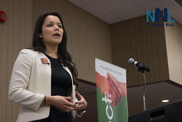 Gabrielle Scrimshaw speaking at Diversity Thunder Bay Breakfast