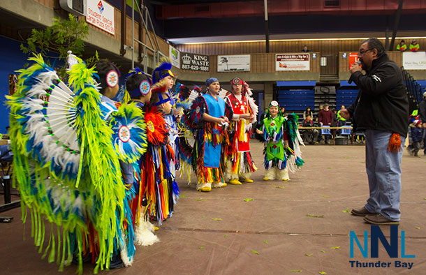 Saturday Morning - First Time youth dancers receiving words of encouragement from Nathan Moses - Pow Wow MC
