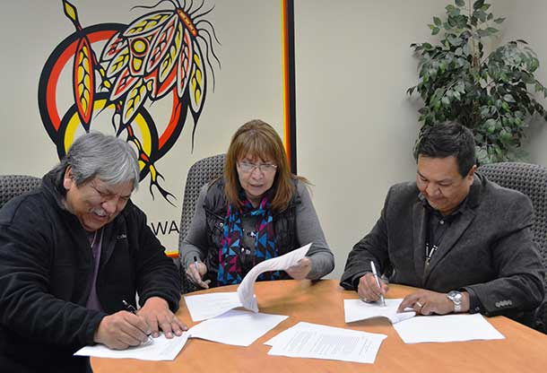Aroland Chief Sonny Gagnon, Chief Elizabeth Atlookan and Marten Falls Interim Chief Bruce Achneepineskum