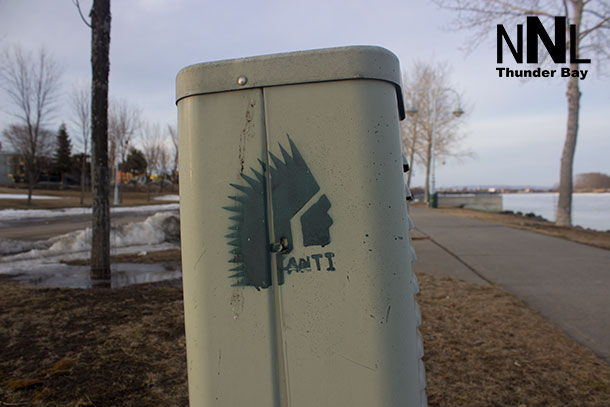 Racist graffiti in Kam River Park just east of Thunder Bay City Hall