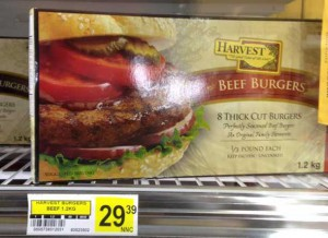 Eight frozen hamburgers $29.00 or just under $4 each patty