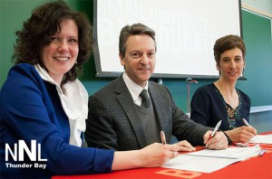 from left: Rose Burton-Spohn, Superintendent of the HSCDSB, Algoma U President Dr. Richard Myers, and Asima Vezina, Superintendent of Education, Operations and Planning ADSB sign the EAP agreement.