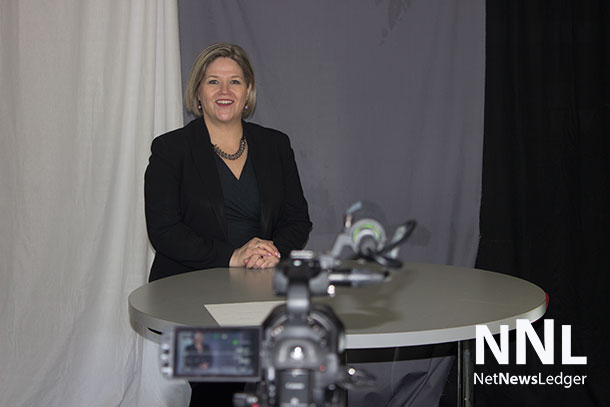 New Democrat Leader Andrea Horwath in the NetNewsLedger Studio discussing issues