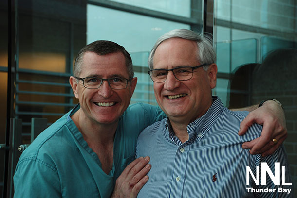 Dr. Bill McCready, (right) is pictured alongside colleague, Dr. David Puskas (left). Dr. McCready, the Chief of Staff and Interim President & CEO, Thunder Bay Regional Health Sciences Centre (effective Spring 2015) was greatly inspired to make a $10,000 gift to the Exceptional Cancer Care Campaign