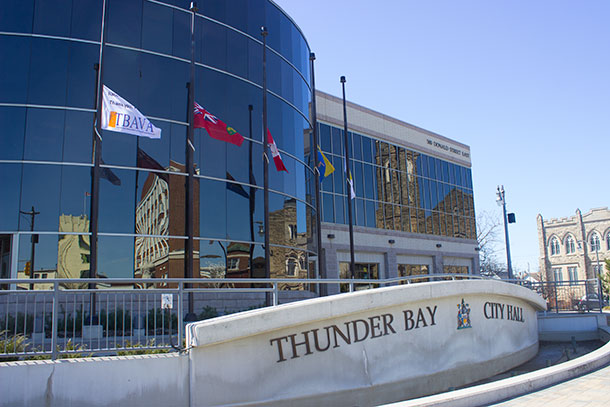 Flags at Thunder Bay City Hall are at Half Staff today to honour and remember Mario Joseph Tocheri