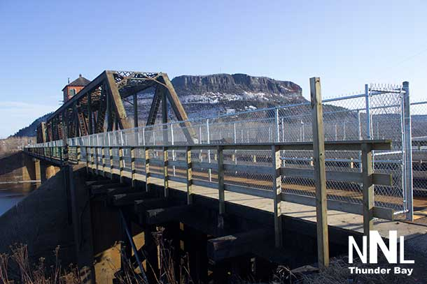 CN Rail James Street Swing Bridge with Mount McKay in the background
