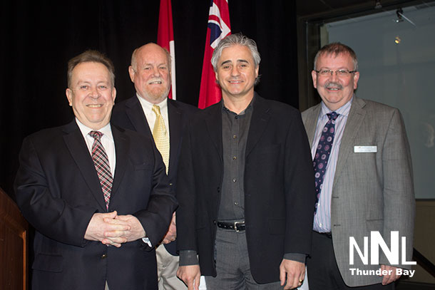 Northern Colleges Collaboration Announcement - Minister Gravelle, Sault College President Dr. Ron Common, Minister Bill Mauro, Confederation College President Jim Madder