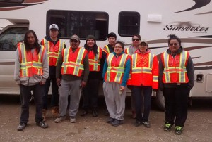 The Sachigo Lake Walkers on the road... racking up the smiles and the miles for the Dennis Franklin Cromarty - Student Living Centre
