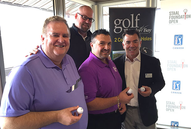 Left to right Tom Forsythe (Manager Golf Services), Walter Keating Jr (President - TBDGA), Joe Quaresima (Tournament Director Committee), Scott Smith (Executive Director Staal Foundation Open) Photo Credit: Sean Davies