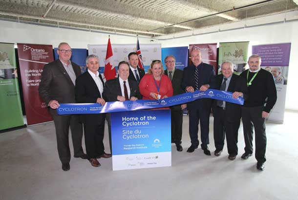 (L-R) Paul Fitzpatrick, Chair, Exceptional Cancer Care Campaign Cabinet, Bill Mauro, MPP for Thunder Bay-Atikokan, Michael Gravelle, MPP for Thunder Bay-Superior North, Minister of Northern Development and Mines, NOHFC, Hon. Greg Rickford, MP, Kenora, Minister of Natural Resources, FedNor, Andrée Robichaud, President & CEO, TBRHSC, Acting CEO, TBRRI, Dr. Michael Campbell, Director, Research and Cyclotron Operations, TBRRI, Mayor Keith Hobbs, City of Thunder Bay, Dr. Gary Polonsky, Board Chair, TBRRI, Keith Taylor, Co-Chair, Patient Advisory Council