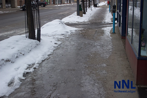 Downtown sidewalks in Thunder Bay can be downright dangerous as melting snow has no where to go and freezes overnight