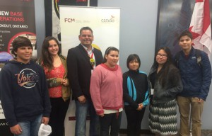 Chief Isadore Day in Lac Seul FN with youth.