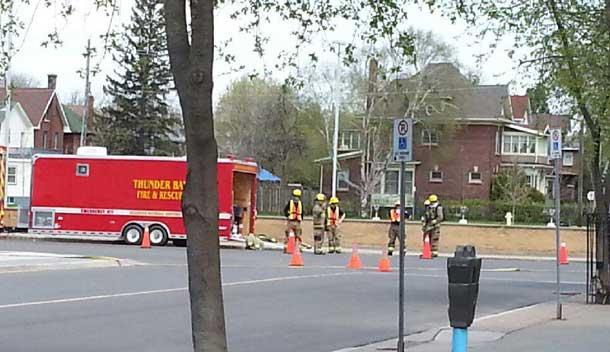 Thunder Bay Fire Rescue Haz Mat unit on site.