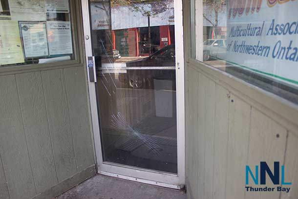 The door of the Regional Multicultural Youth Centre has been smashed four times now in the past several years.