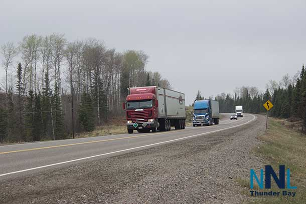 Trucks on Highway 17