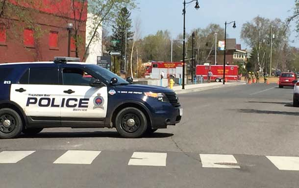 Police Unit closing down Brodie Street at Victoria Avenue