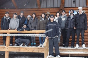 Dennis Franklin Cromarty High School students in the dual-credit Recreation and Leisure Options Course, offered in partnership with Confederation College, gather during their Kingfisher overnight experience