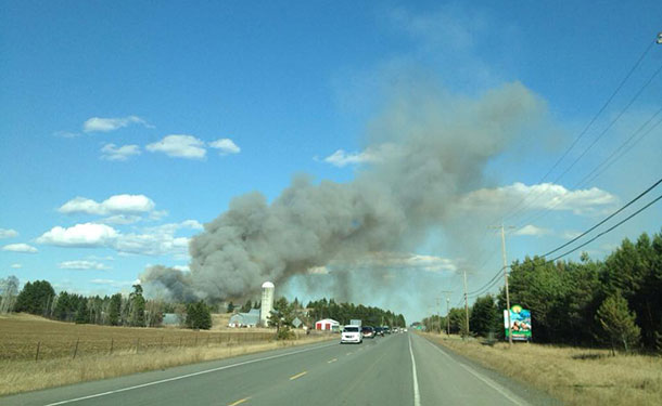 Smoke from fire near Stanley - image Facebook