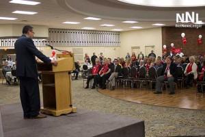 Don Rusnak addressing Liberal members at Nomination Meeting in Thunder Bay