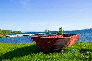 Older fishing boat on Fort William First Nation