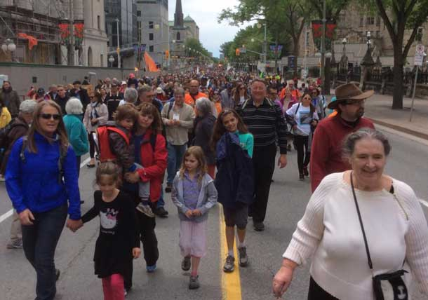 Truth and Reconciliation Walk... over 10,000 strong. Photo by Annie Wenjack