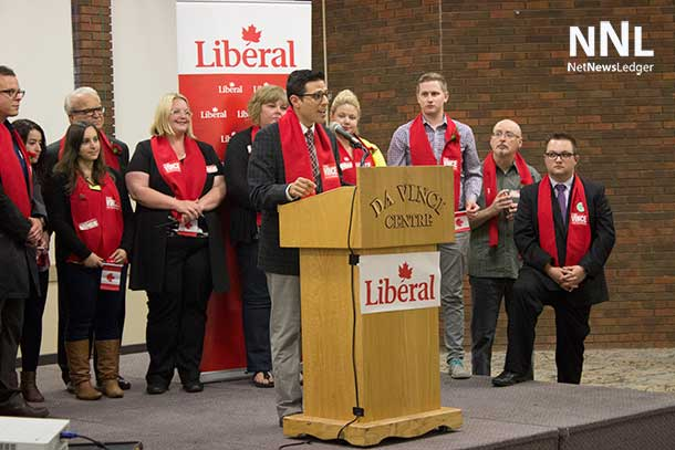 Don Rusnak addressing Liberal members at Nomination Meeting in Thunder Bay