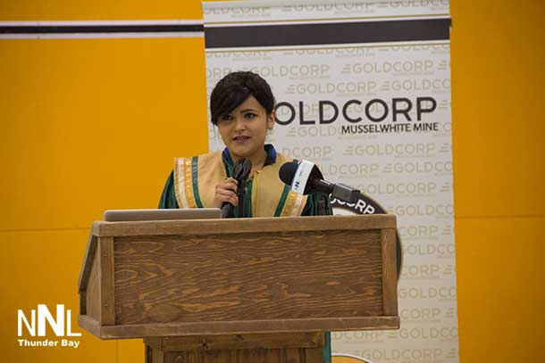 Ashley Keewasin-McKay speaking to graduates