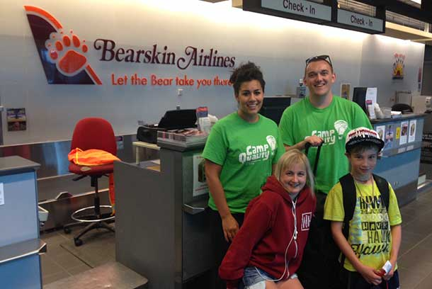 Some of the Camp Quality participants flew into Thunder Bay on Bearskin Airlines