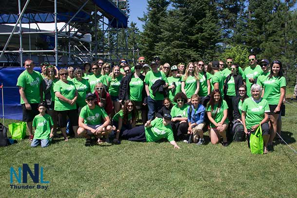 Bringing it home, the campers from Camp Quality were on hand too. Here they are after enjoying a visit