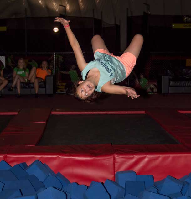 My sister Kaija doing a flip at the Trampoline Park