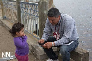 Ontario Regional Chief Isadore Day with Autumn at the Kam River Park in Thunder Bay