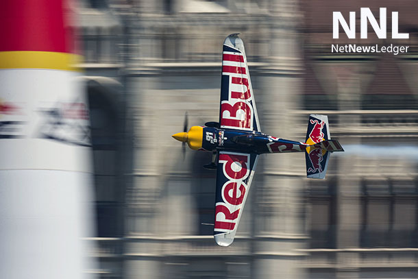 Peter Besenyei of Hungary performs during the qualifying day of the fourth stage of the Red Bull Air Race World Championship in Budapest, Hungary on July 4, 2015. - Samo Vidic/Red Bull Content Pool
