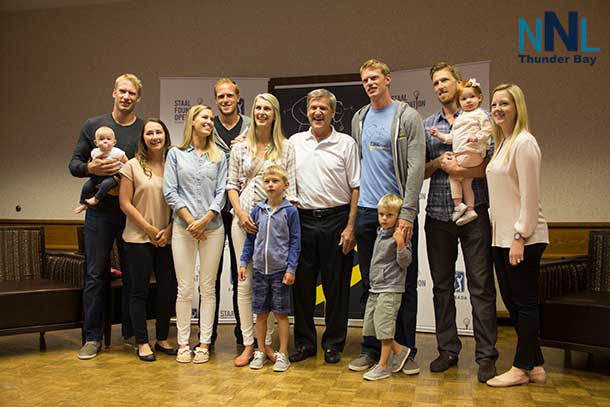 The Staal Brothers and family with Bobby Orr