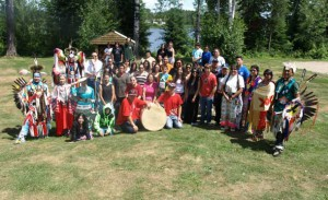 A traditional Pow Wow was held for Senior Wabun Youth aged from 13 to 18 during the Ninth Annual Wabun Youth Gathering held from July 13 to 24, in Elk Lake, Ontario. They are pictured here with their chaperones, traditional performers and factilitators.