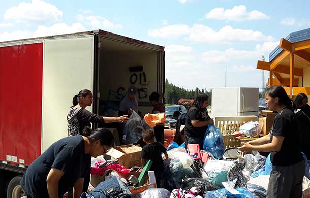 A truck load of furniture, clothing, tools, and supplies arrived in Mishkeegogaming First Nation