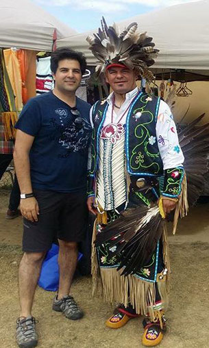 Ontario Regional Chief Isadore Day with Arman Yousefi and Indigneous person from Iran at last weekends powwow in Wiki at their 55th Annual Powwow