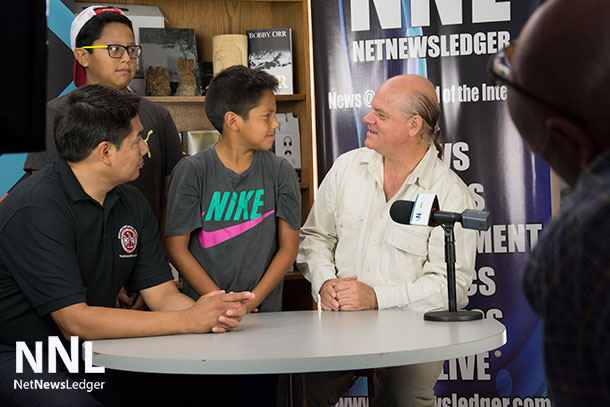 Derek Fox with his sons, nine-year old Kairn Fox-Wapioke and eleven-year-old Darryl Fox-Wapioke