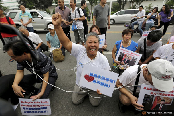 Bereaved families protest Malaysia Airlines MH 370