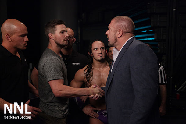 Stephen Amell and Triple H look to get Red Arrow Star into a match at Summerslam