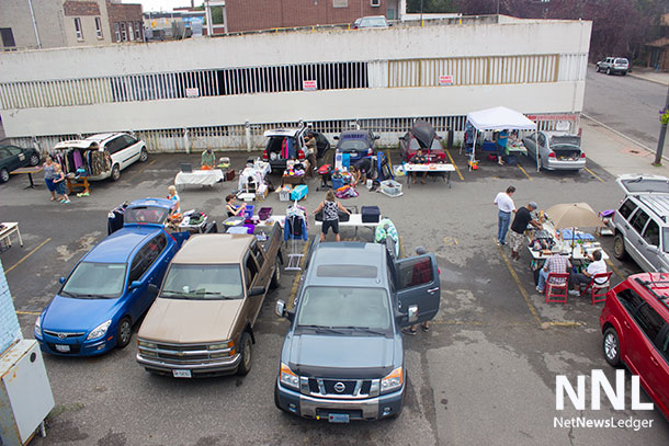 From 11am to 3PM at The Hub on May Street, or the back parking lot on Brodie Street there is a tailgate sale happening