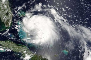 This Aug. 25, 2005, satellite image shows inbound Hurricane Katrina. The storm moved slowly, enabling heavy rains to linger longer over one area, the National Hurricane Center warned. The center forecast 6-10 inches of rain over Florida and the Bahamas, and up to 15 inches in some regions