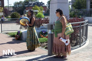 Isabel O'Kanses and Amanda Perreault at Thunder Bay City Hall