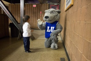 Wolfie was back in action too.. greeting the fans young and old