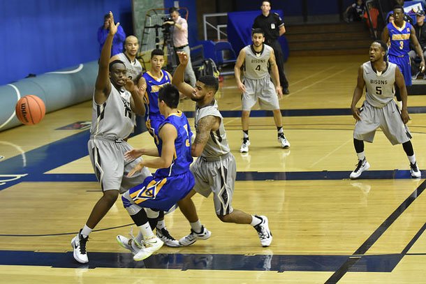 The Lakehead Thunderwolves Men's Basketball Team in action against UM Bisons - Photo Lakehead U