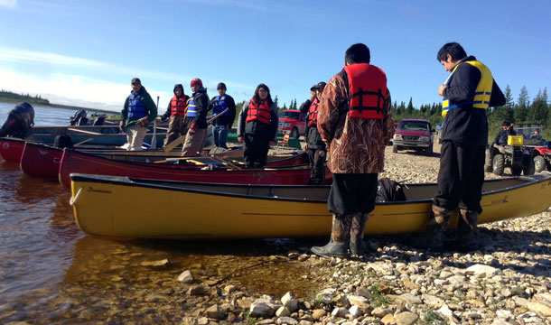 Youth, along with Randy Hunter, prepare to set off towards Hudson Bay.